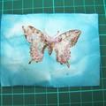 essai papillon distress bleu et glossy pailletée