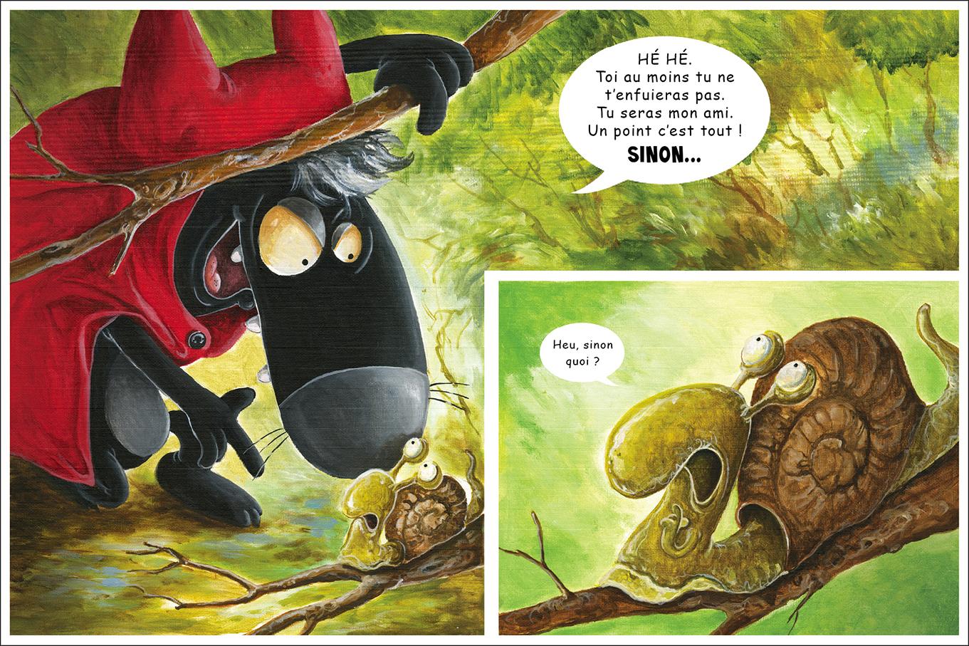 Double page du 3ème volume des aventures du Petit Chaperon Loup: Un amis à tout prix