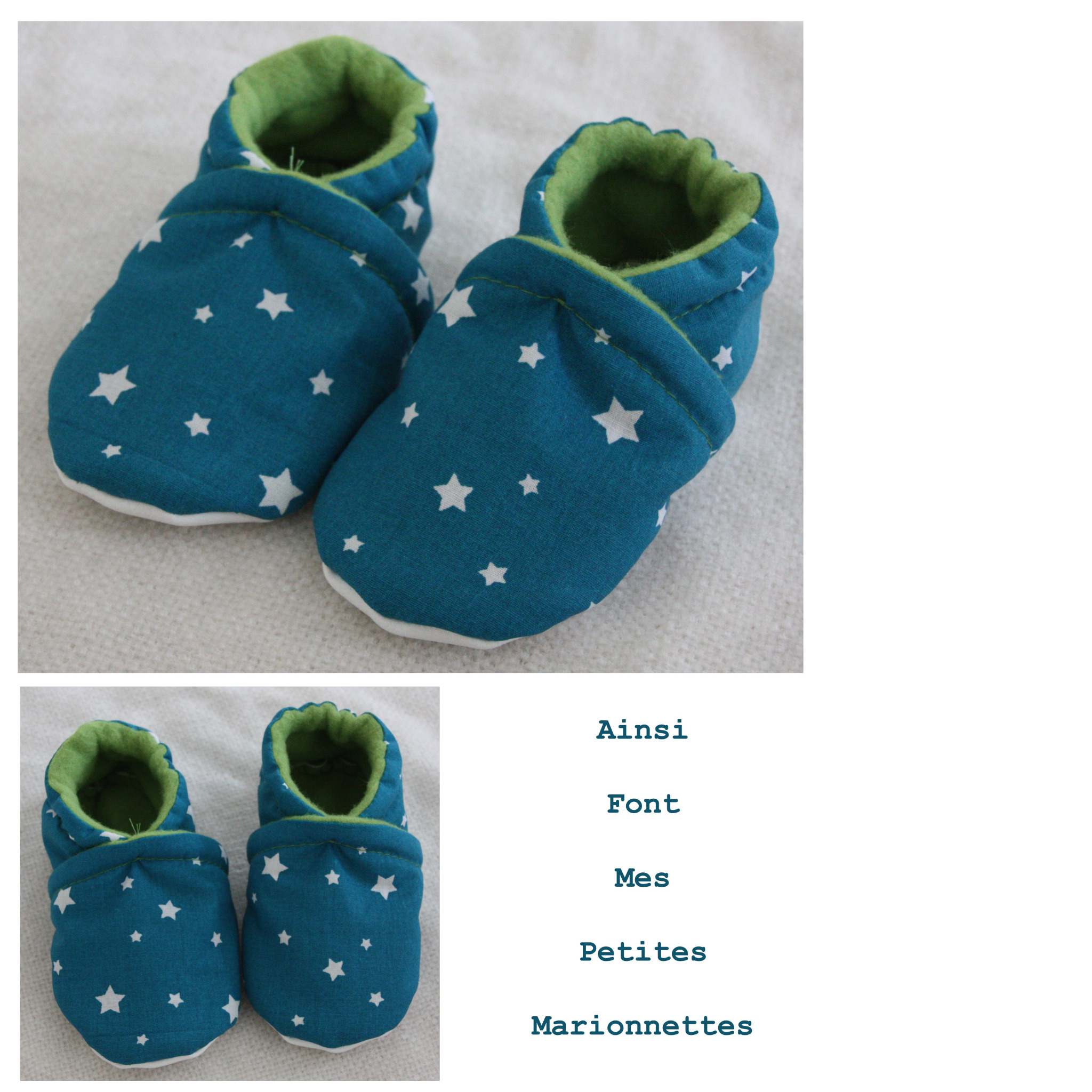 chaussons etoile turquoise