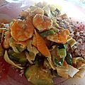 Poêlée de légumes, crevettes et quinoa