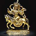 A gilt-bronze figure of manibhadra, tibet, 18th century