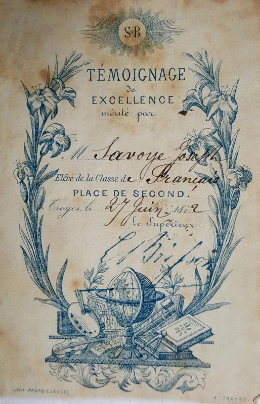 billet de mérite scolaire, 1872