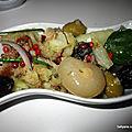 Recette - salade de pommes de terre aux harengs fumés, oignons, olives et mélange d'huile