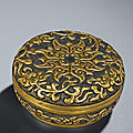 A parcel-gilt bronze incense box and cover, ming dynasty, 17th century