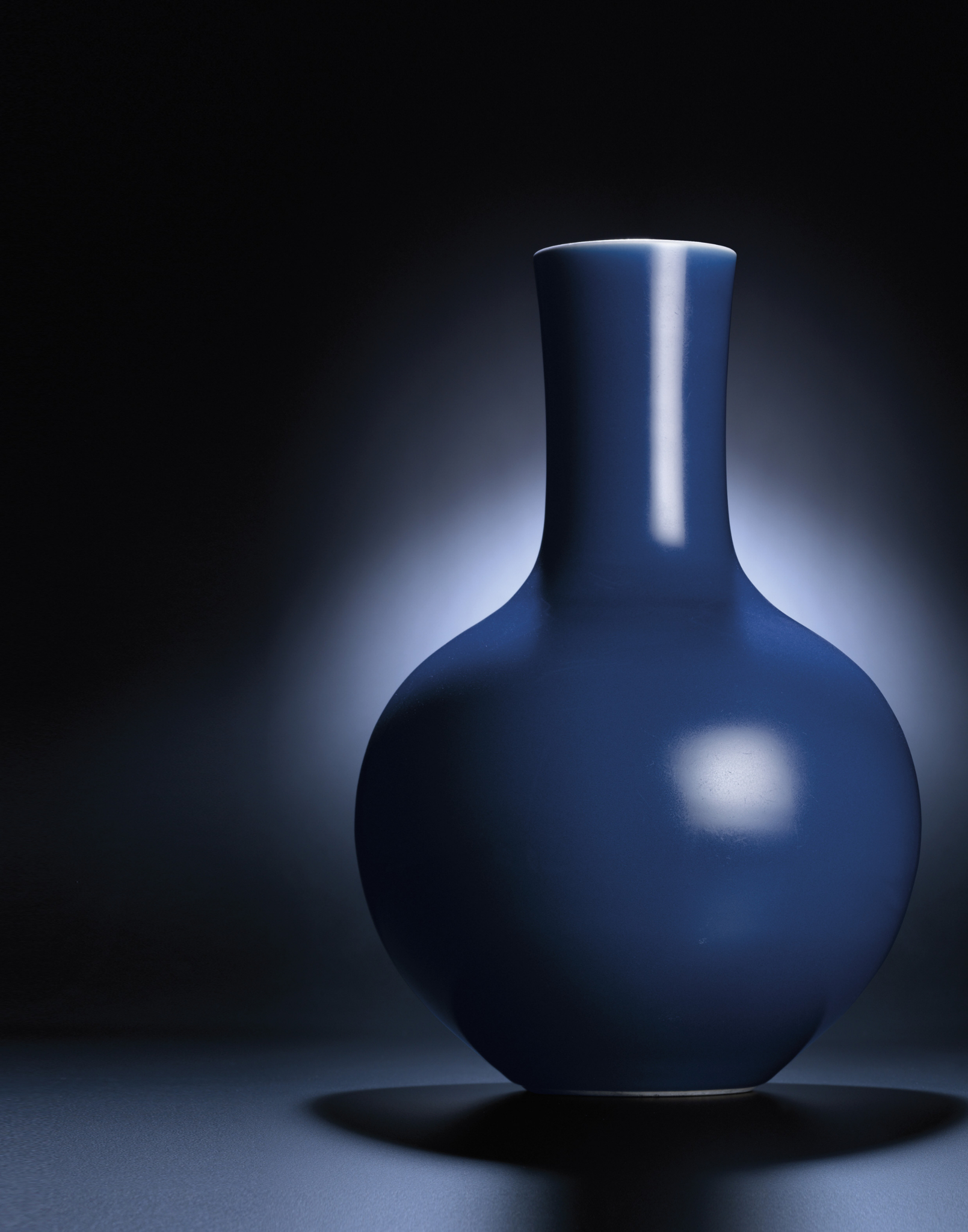 A rare blue-glazed globular bottle vase, Daoguang six-character sealmark and of the period (1821-1850)
