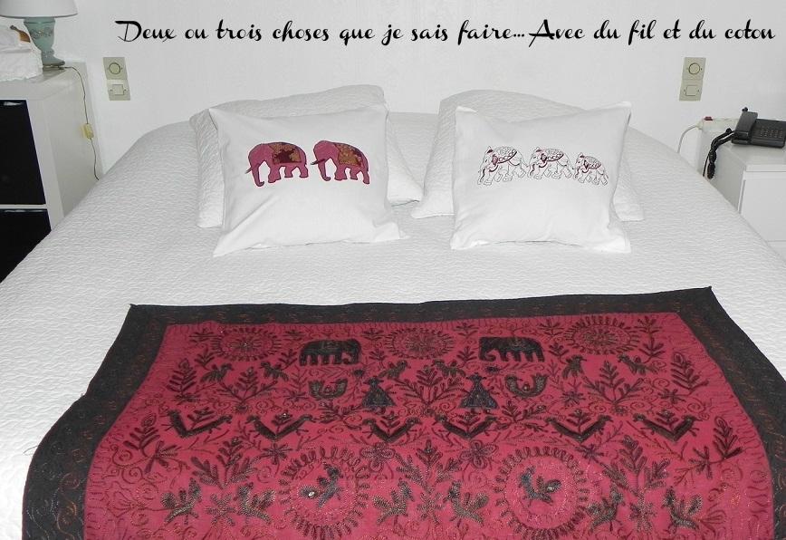 les 2 coussins éléphants