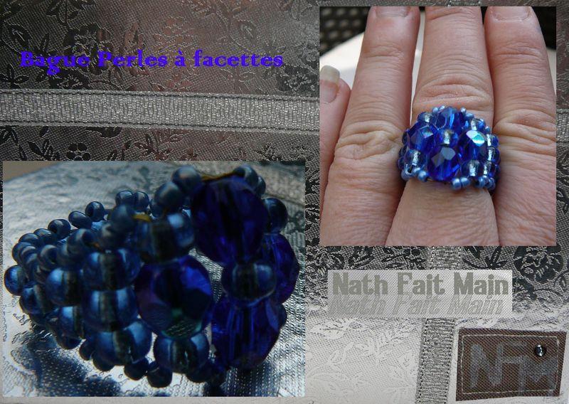 Bague perles à facettes Bleue