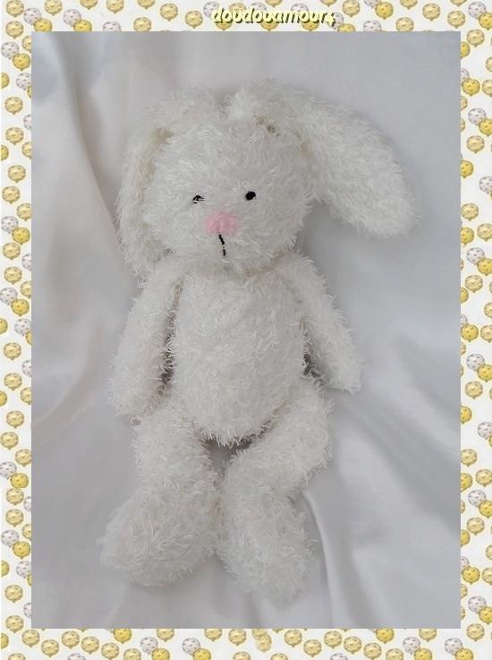 Doudou Peluche Lapin Blanc Longs Poils Furni toys Furnitoys