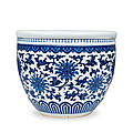 A large blue and white 'lotus' basin, mid qing dynasty, 18th century