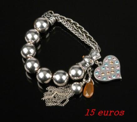 70cmisBracelet pampilles avec perles argentées et chaînes palmier en métal 15