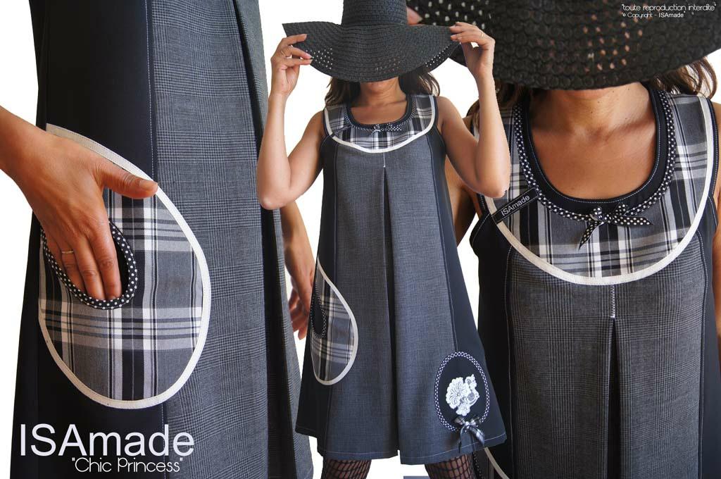 MOD 368A robe trapèze habillée chic Noir carreaux et prince de Galles
