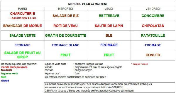 Menus Cantine 21 au 24 mai 2013