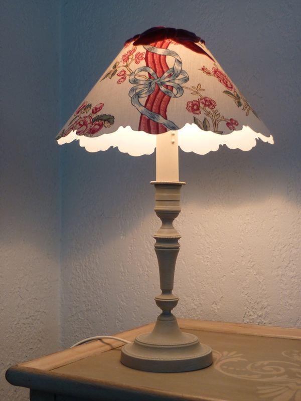 lampe tissu fleuri
