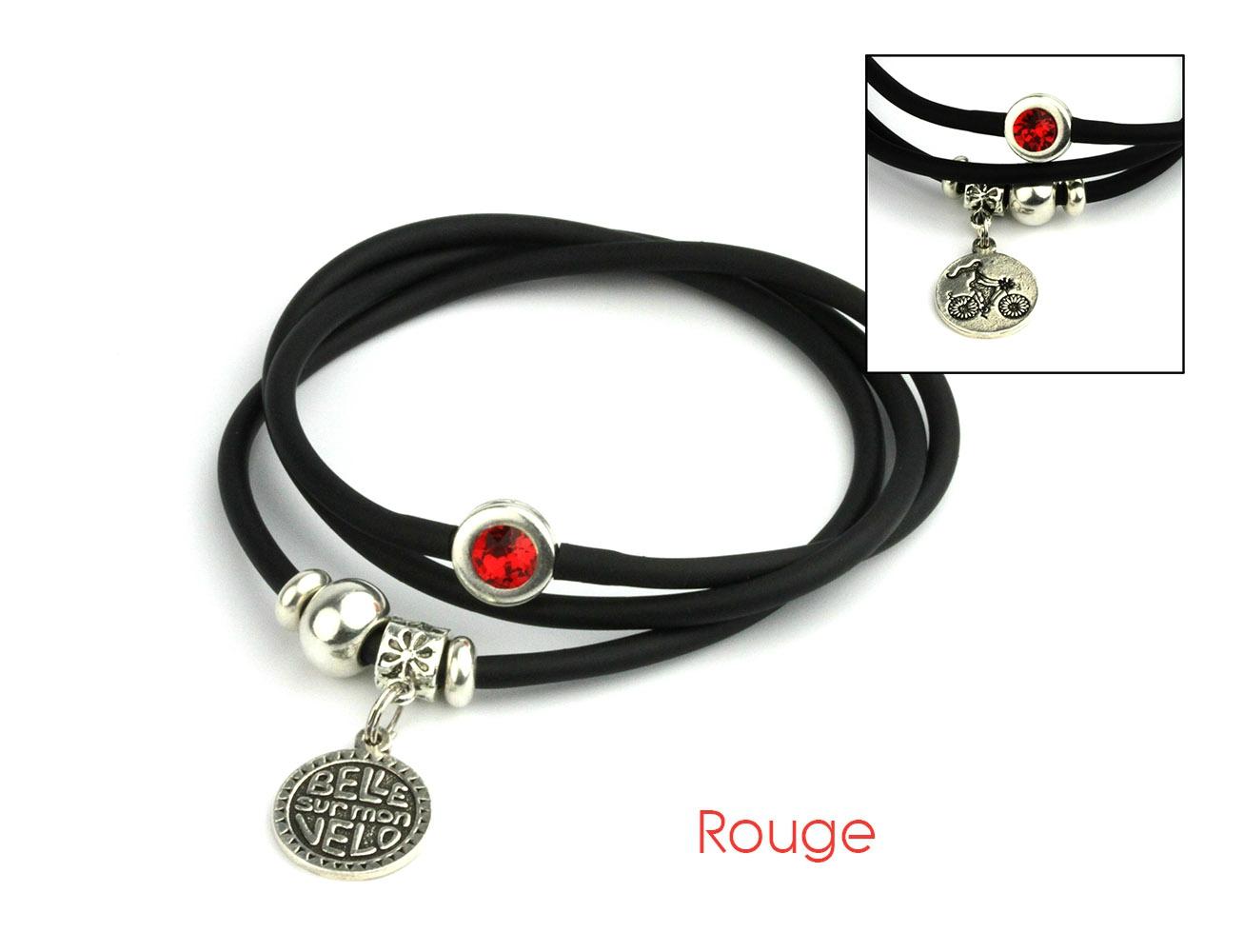 bracelet mia noir velo rouge