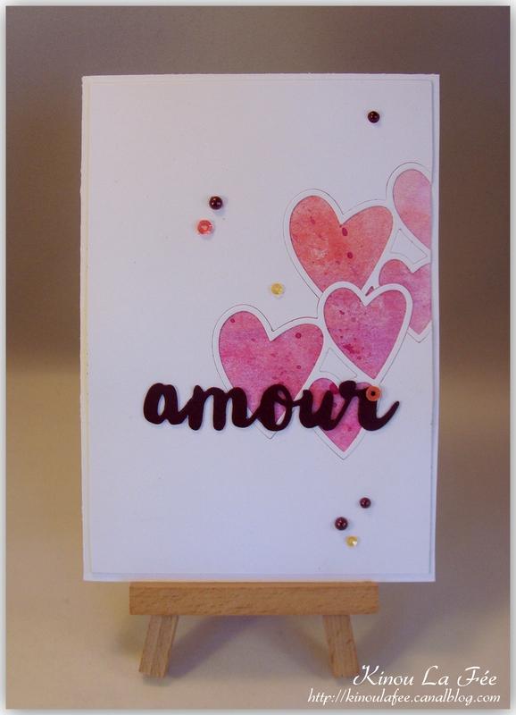 Carte Amour + coeurs inbriqués 1