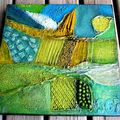 Landscape in green and blue,2x30x30cm