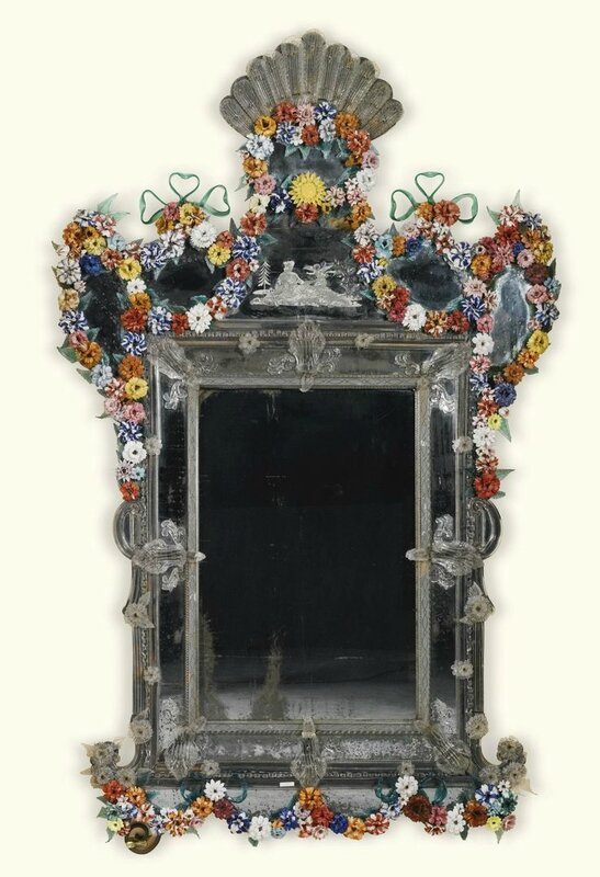 An Italian polychrome and engraved glass mirror, Venetian, Murano, Late 19thearly 20th century, possibly by S