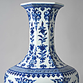 An exceptionally large blue and white 'sanduo' hexagonal vase, qianlong six-character seal mark and of the period