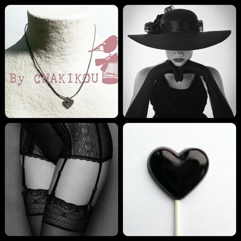 collier coeur gtte ag noir