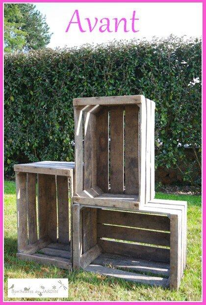 brut de pomme biblioth que jardin avec des caisses pommes bon 39 heures au jardin. Black Bedroom Furniture Sets. Home Design Ideas