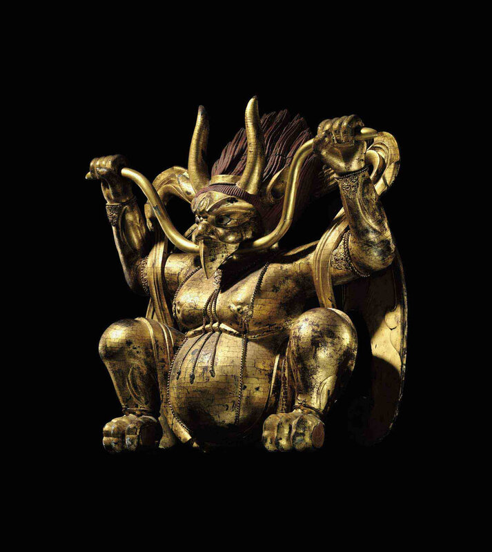 A large Imperial gilt and polychromed wood figure of Garuda, Tibeto-Chinese, 18th Century