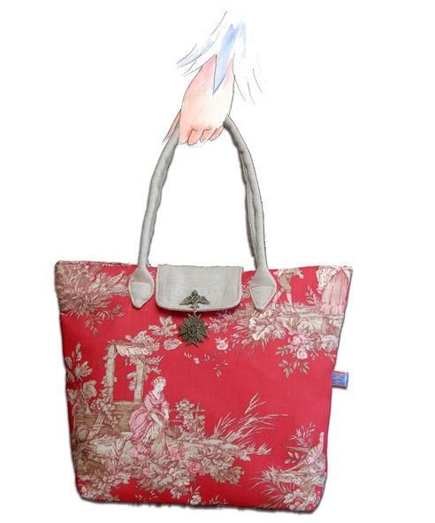 sac toile de jouy rouge façon pliable main