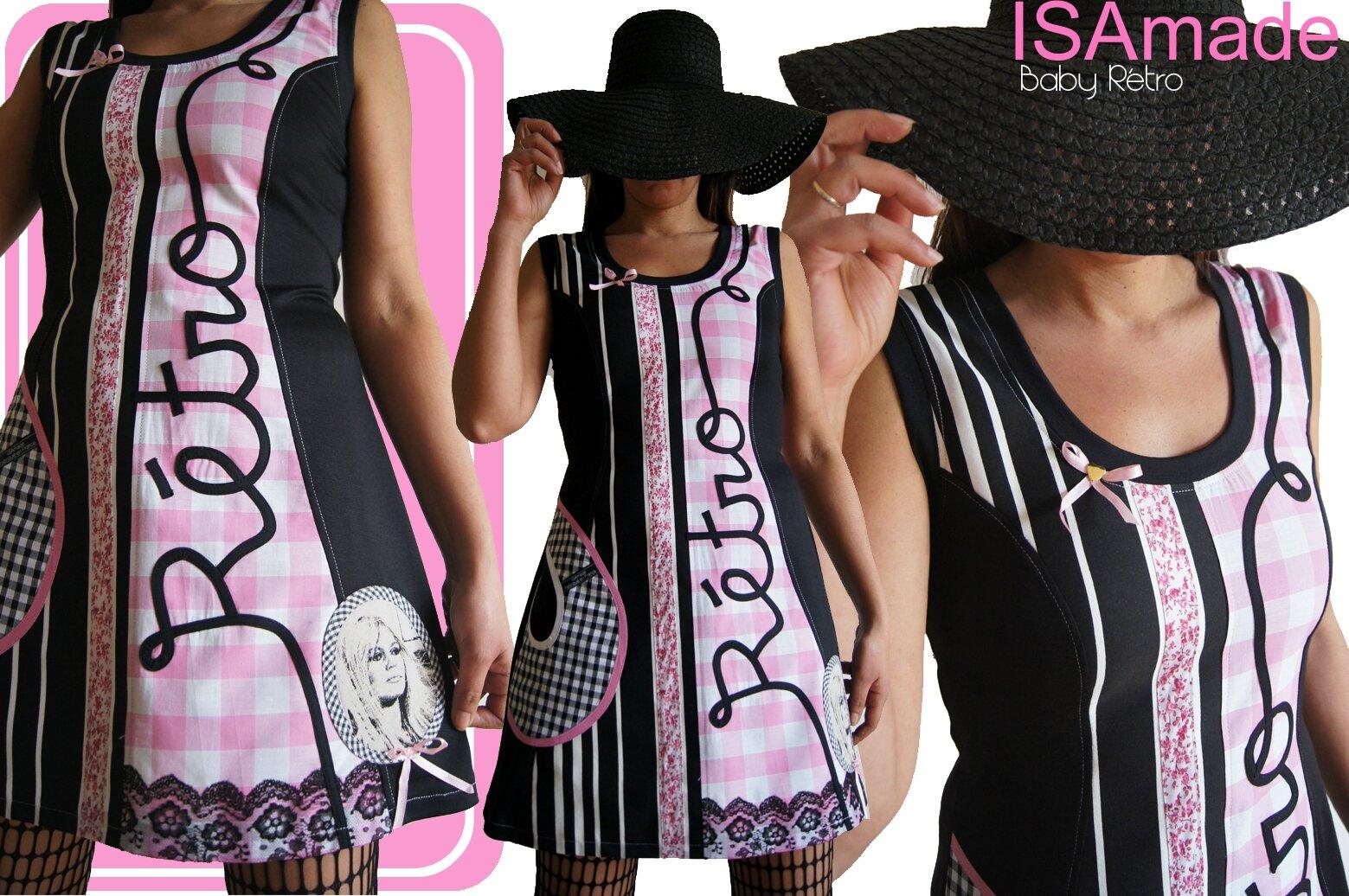 esprit vintage r tro les codes mode des ann es 60 robe maille noire et rose en vichy look. Black Bedroom Furniture Sets. Home Design Ideas