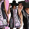 Robe maille Graphique Rayure et vichy Noire et Rose Bonbon Printemps 2015 fantaisie et Originale à dentelle et ruban de style