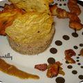 Purée de pomme de terre, marrons et foie gras, brochette de poulet caramel ananas et sa tuile de parmesan