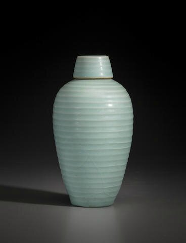 A Longquan celadon ribbed meiping and cover, 12th-13th century