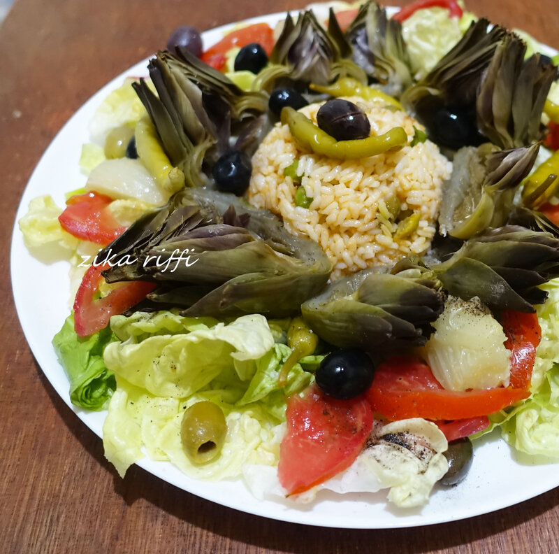 salade composée riz au thon artichauts fenouil tomates et laitue 02