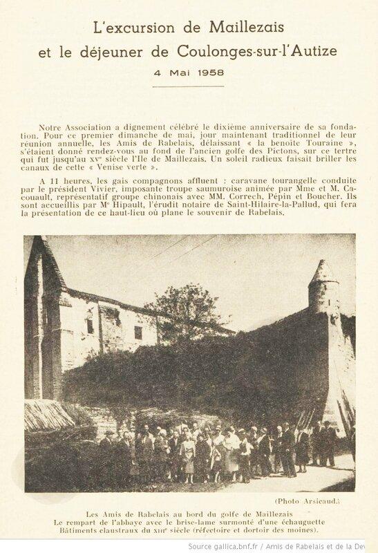 Amis de Rabelais et de la Devinière (Tours) L'excursion de Maillezais et le déjeuner de Coulonges-sur-l'Autize 4 Mai 1958