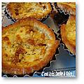 Minitartelettes oignons, tomates, pignons pin et mozzarella