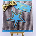 Carte turquoise et marron glacé L'Atelier au soleil
