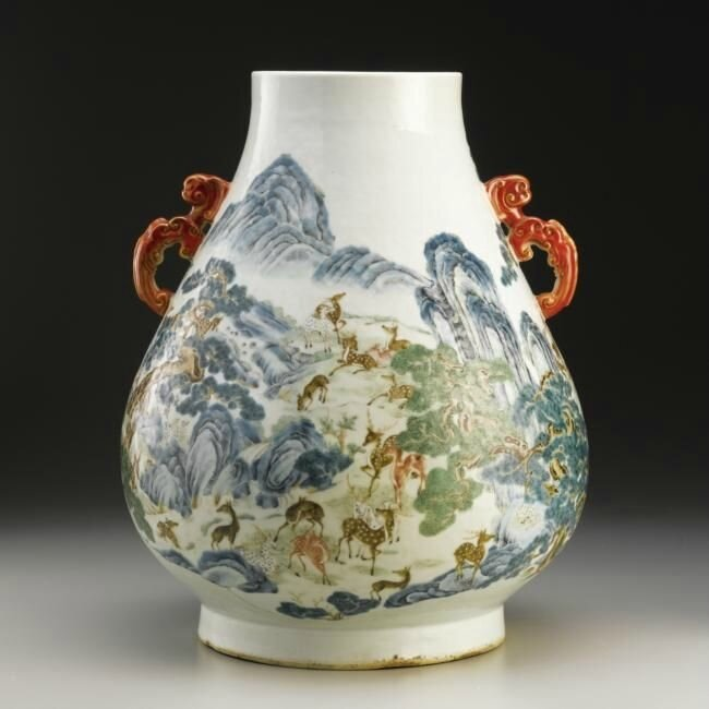 A 'famille-rose' 'One hundred deer' vase (hu), Qianlong seal mark and period (1736-1795)