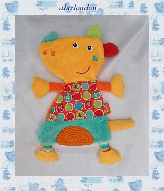 Doudou Peluche Plat Chien Orange Bleu Jaune Tissu Ronds Fleurs Plaque Dentition Babysun