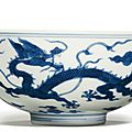A blue and white 'dragon' bowl, jiaqing seal mark and period (1796-1820)