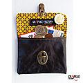 Porte monnaie vintage CUIR marron vieilli de créateur original