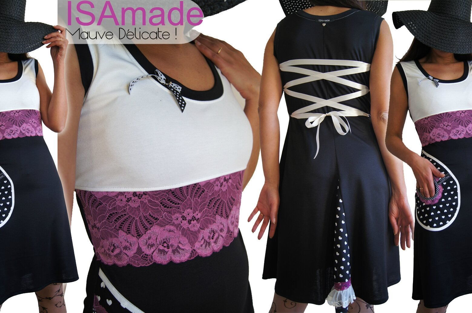 Robe dentelle noire blanche et mauve en dentelle de style lingerie