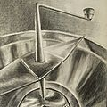 Vieux moulin à légumes manuel - Presse-purée - Accessoire de cuisine - Etude dessin mine de plomb brillance métallique G. Letourneur