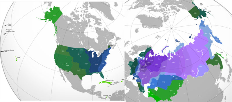 US American vs Russian Expansion until 1914