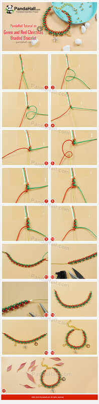 2-PandaHall Tutorial on Green and Red Christmas Braided Bracelet