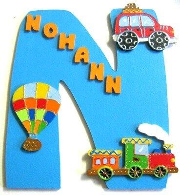 Plaque de porte initiale thème voyage pour Nohann