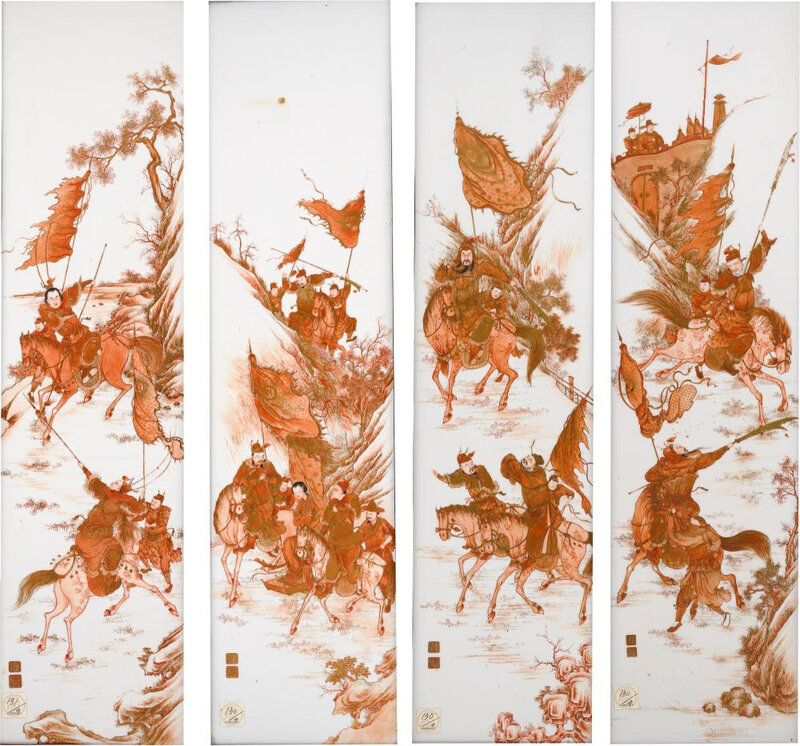 """A Set of Four Iron-Red and Gilt Porcelain """"Three Kingdoms"""" Panels, Republic Period"""