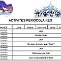 Planning des activite de novembre a decembre 2017