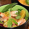 Salade folle au saumon et aux crevettes