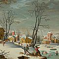 Abel grimmer (c.1570 antwerp c.1620), a winter landscape of a village