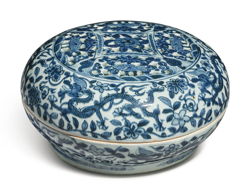 A pierced blue and white 'dragon' sweetmeat box and cover, Wanli mark and period (1573-1619)