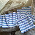 10 lingettes double face écologiques rayée blanc/bleu