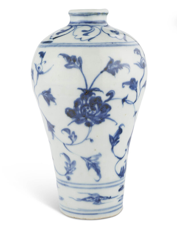 A blue and white meiping, Ming dynasty (1368-1644)